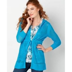 Christopher & Banks blue perforated tie cardigan